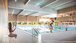 3d visualisatie architectuur Zwembad Tiel interieur wedstrijdbad