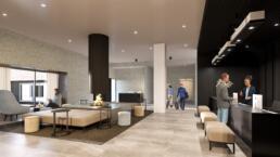 interieur visualisatie - Hotel De Blanke Top - lobby met mensen