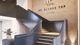 interieur visualisatie - Hotel De Blanke Top - spa met mensen - lobby trap