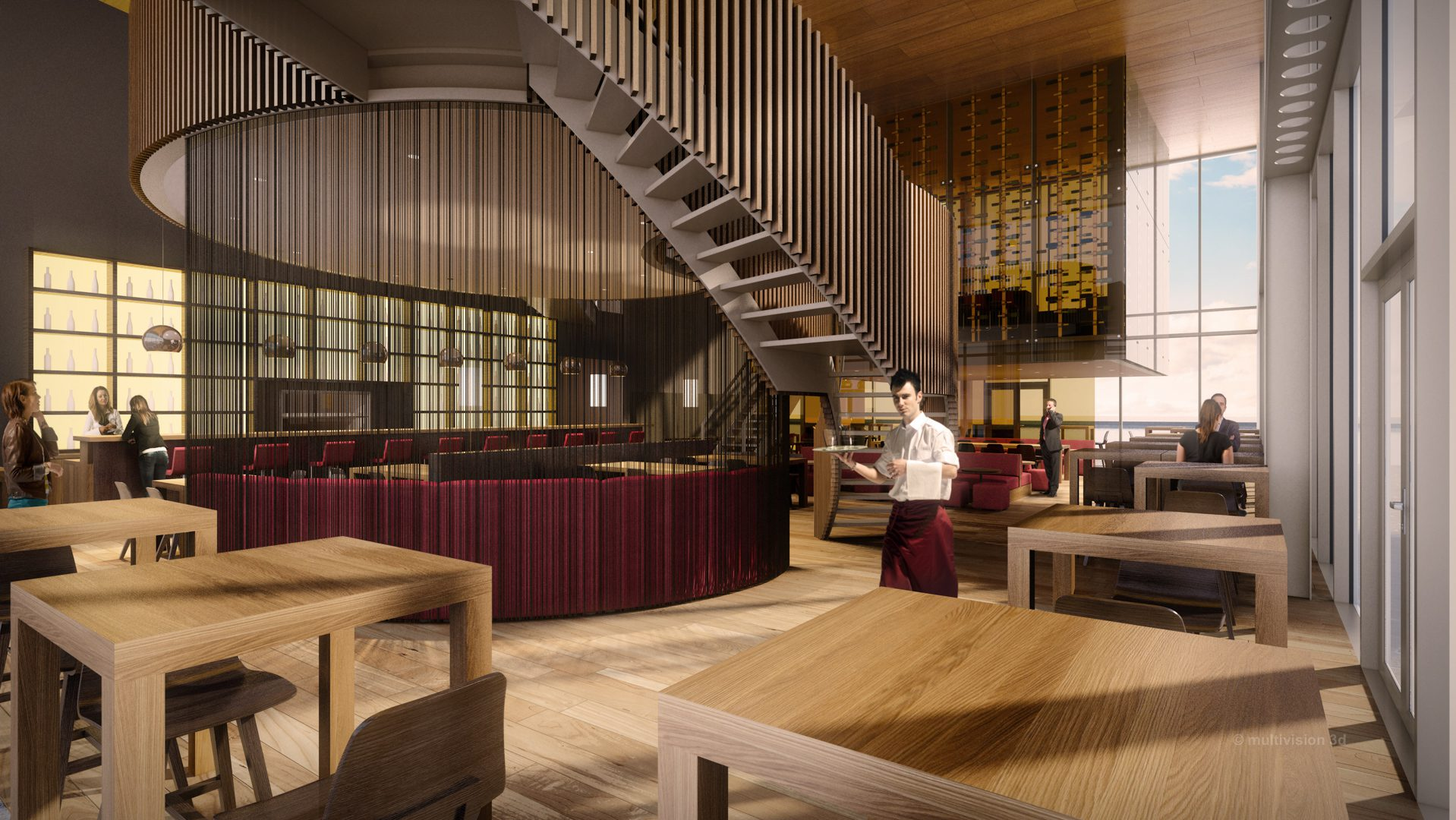 interieur architectuur visualisatie restaurant de strip
