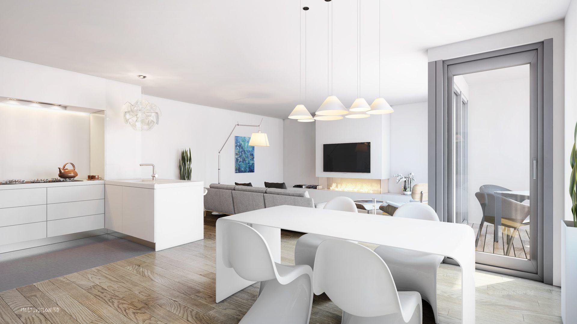 interieur impressie la cour bleue 1 multivision 3d visualisatie. Black Bedroom Furniture Sets. Home Design Ideas