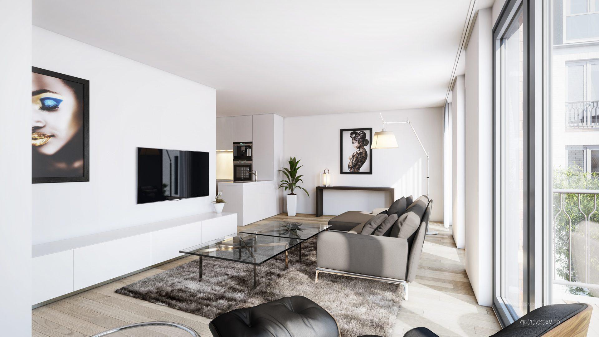 interieur impressie la cour bleue 3 multivision 3d visualisatie. Black Bedroom Furniture Sets. Home Design Ideas