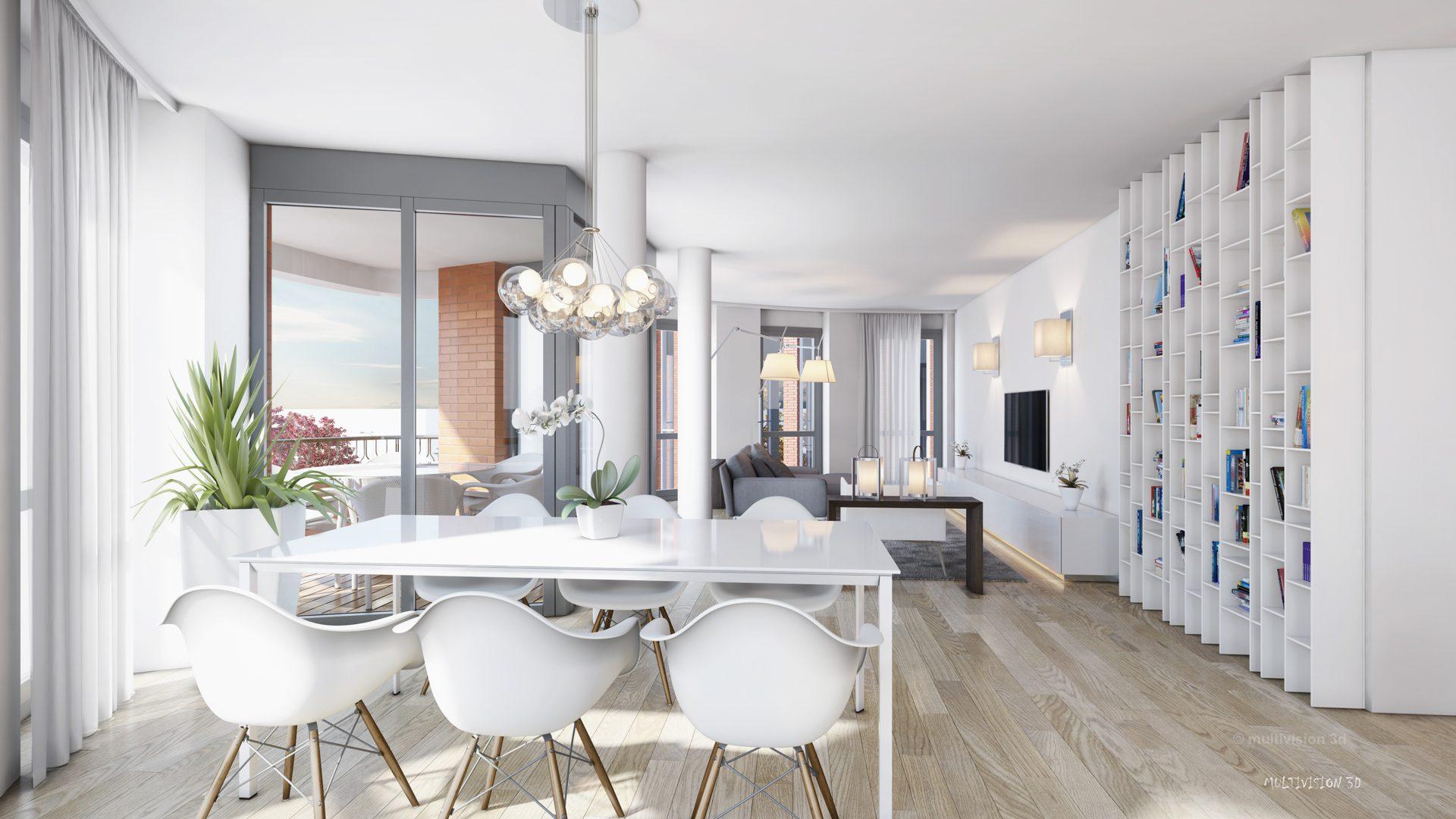 interieur impressie la cour bleue 4 multivision 3d visualisatie. Black Bedroom Furniture Sets. Home Design Ideas