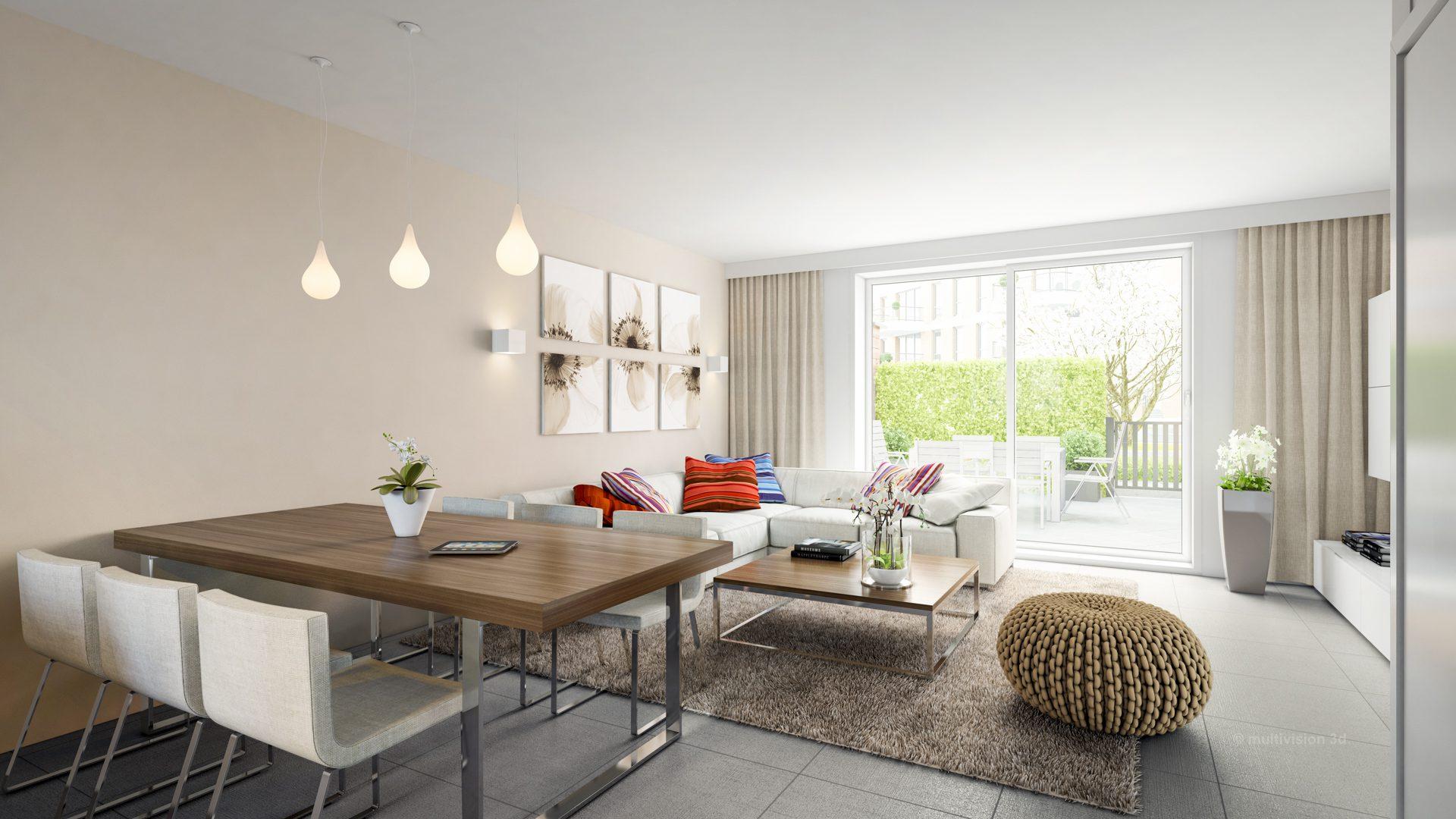 interieur impressie la cour bleue 5 multivision 3d visualisatie. Black Bedroom Furniture Sets. Home Design Ideas