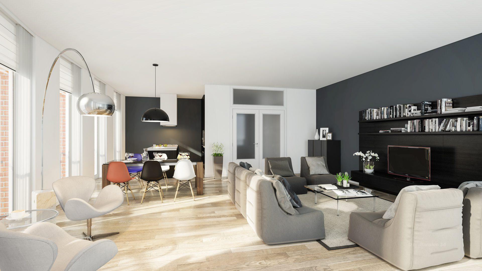 interieur impressie la cour bleue 6 multivision 3d visualisatie. Black Bedroom Furniture Sets. Home Design Ideas