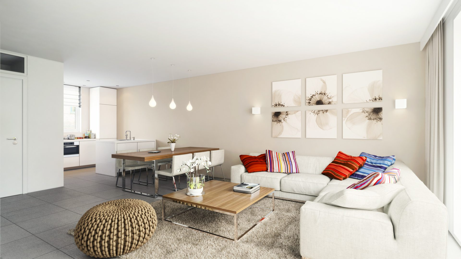 interieur impressie la cour bleue 7 multivision 3d visualisatie. Black Bedroom Furniture Sets. Home Design Ideas
