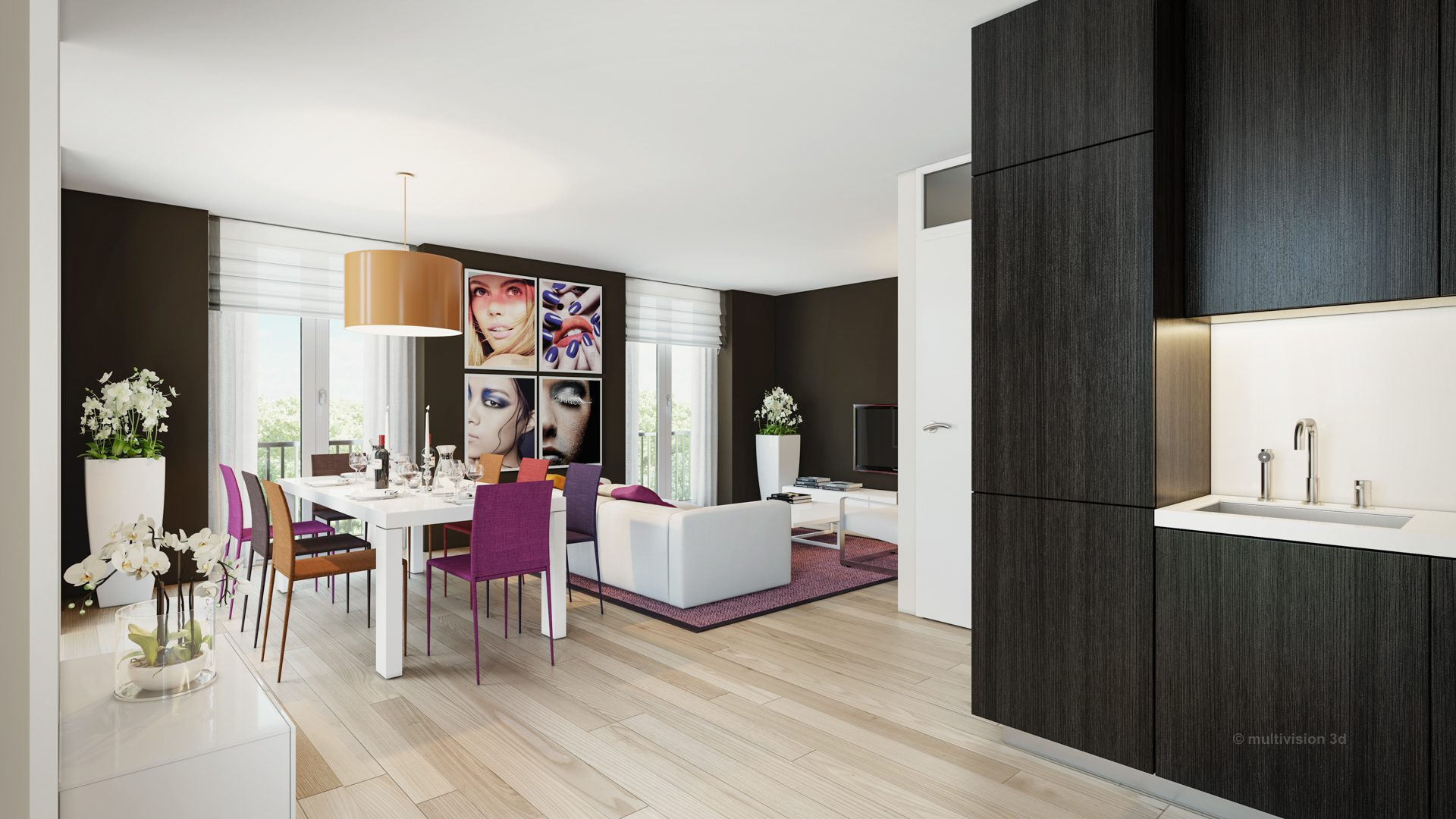 interieur impressie la cour bleue 8 multivision 3d visualisatie. Black Bedroom Furniture Sets. Home Design Ideas