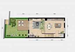 sfeerplattegrond verdieping 0 met tuin
