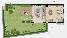 2D plattegrond begane grond met tuin